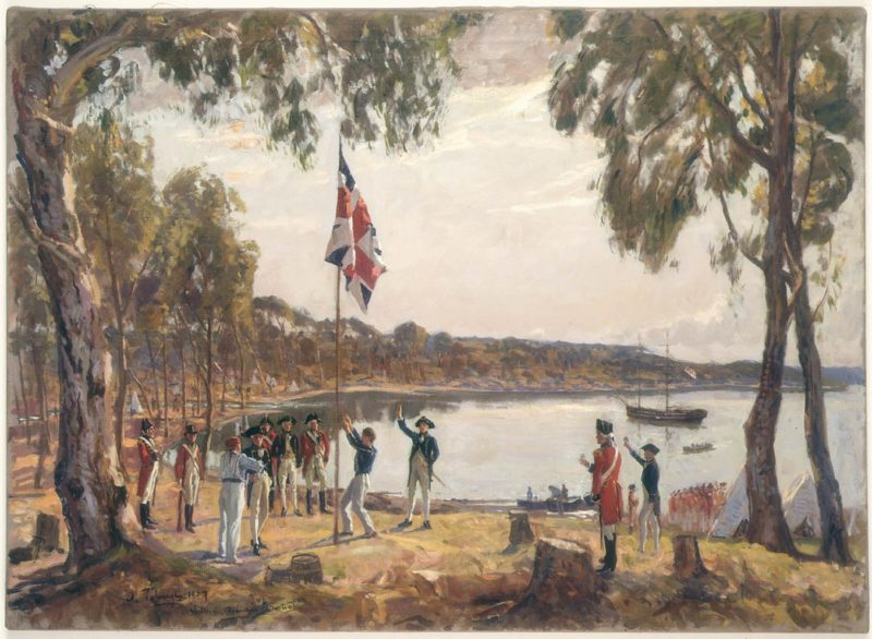"""The Founding of Australia. By Capt. Arthur Phillip R.N. Sydney Cove, Jan. 26th 1788"" painted by Algernon Talmage in 1937."