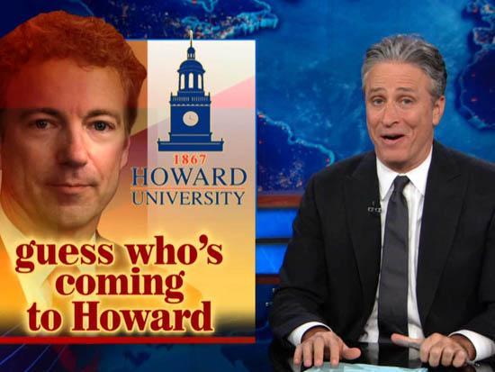 Comedian Jon Stewart pokes fun at Senator Paul's pilgrimage.