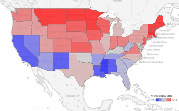 Maps Reveal Intelligence Levels Across The US Based On Tweets - Iq map of us