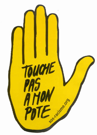 "The symbol of SOS Racisme: ""Leave my pal alone."""
