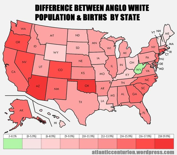 Difference Between Anglo White Population and Anglo White Births by State