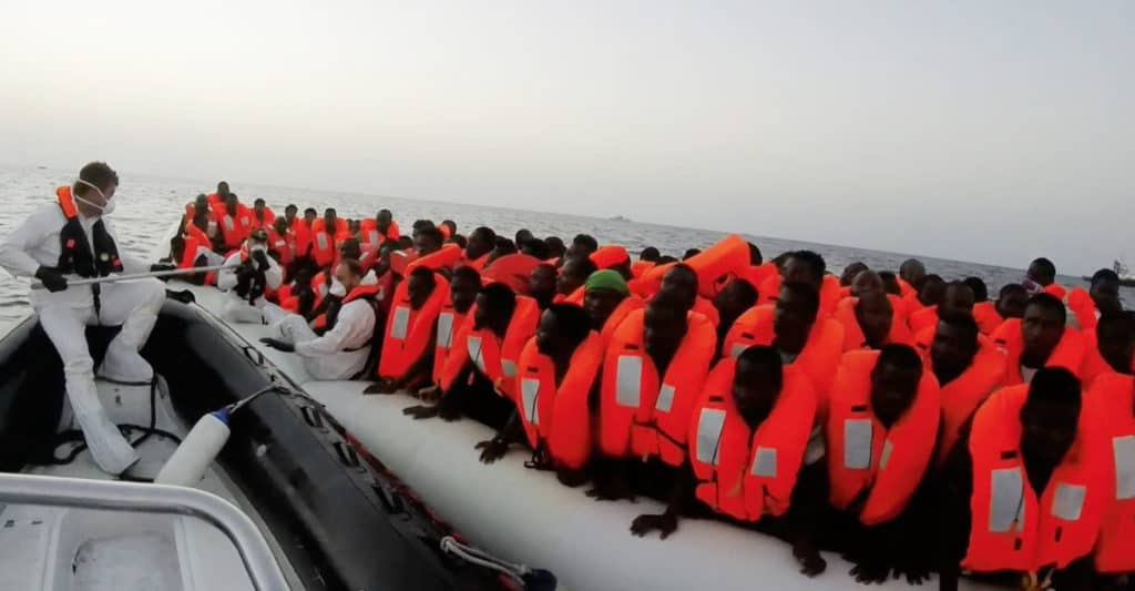 Italy: Migrant rescued from rubber dinghy in the Mediterranean Sea