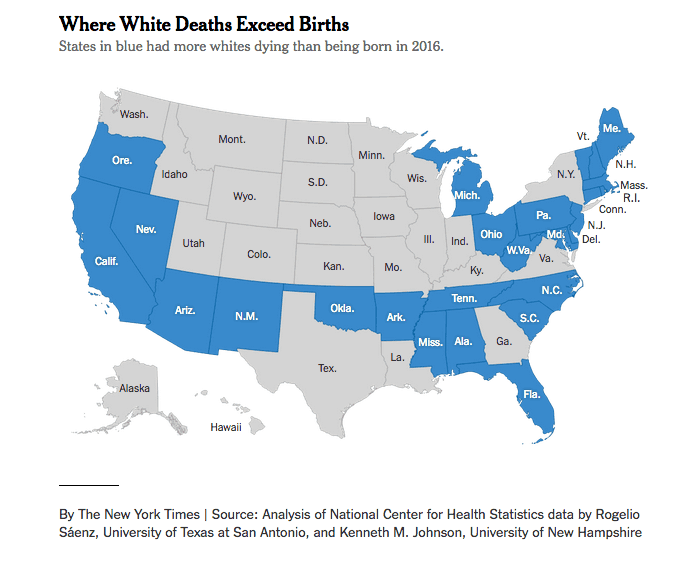 Map of Where White Deaths Exceed Births