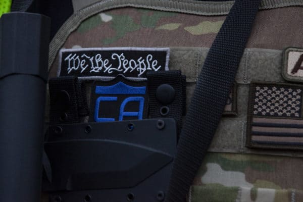 September 24, 2020, Louisville, Kentucky: A patch from the vest of an Oath Keeper seen during the demonstration. The Oath Keepers and other groups showed up in Louisville after the Grand Jury Verdict to protect property. (Credit Image: © Stephen Zenner / SOPA Images via ZUMA Wire)