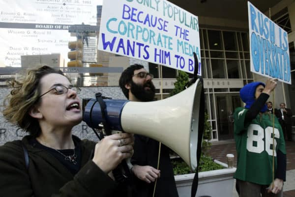 Oct 2, 2003; Philadelphia, PA; Hannah Sassaman with the Prometheus Radio Project protests against Rush Limbaugh outside the Pennsylvania Convention Center where Limbaugh was the keynote speaker for the National Association of Broadcasters. (Credit Image: © Alejandro A. Alvarez / Philadelphia Daily News / ZUMAPRESS.com)