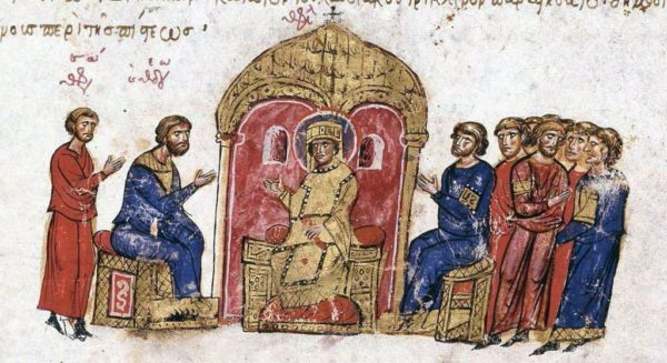 Argument about icons before the emperor, in the Skylitzis Chronicle