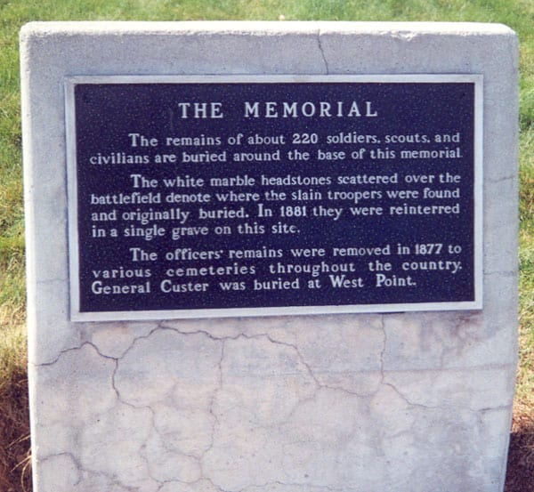 The headstone marking the site of the Battle of the Little Bighorn. (Credit Image: Jeremy Kemp via Wikimedia
